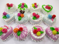 Dollhouse Miniature Food Cake 12 Assorted Color Flower Rose Cake 1.5 cm 15648