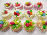 Dollhouse Miniatures Food Cakes 12 Mixed Color Rose Cake 1.5 cm Supply 15649