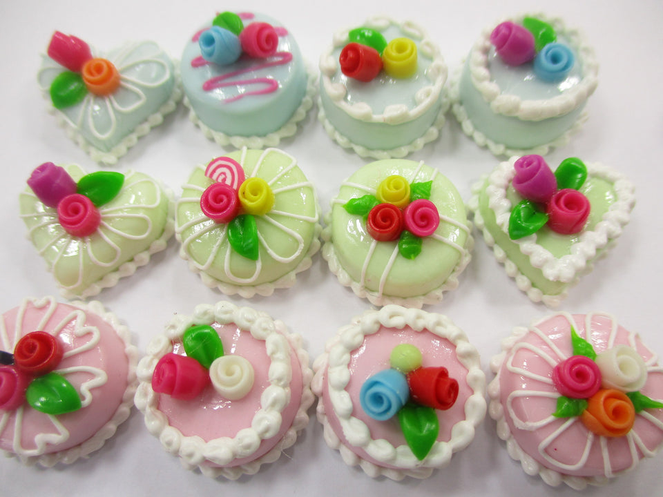 Dollhouse Miniature Food Cakes 12 Assorted Color Rose Flower Cake 1.5 cm 15653