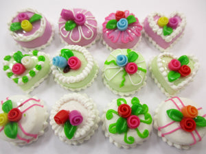 Dollhouse Miniature Food Cakes 12 Assorted Color Rose Flower Cake 1.5 cm 15654