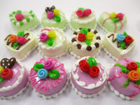 Dollhouse Miniature Food Cakes 12 Assorted Color Flower Rose Cake 1.5 cm 15656