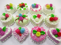 Dollhouse Miniature Food Cake 12 Assorted Color Flower Cake 1.5 cm Supply 15658
