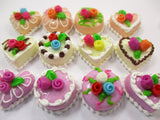 Dollhouse Miniature Food Cakes 12 Assorted Color Rose Cake 1.5 cm Supply 15659