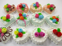Dollhouse Miniature Food Cakes 12 Mixed Color Mini Flower Rose Cake 1.5 cm 15660