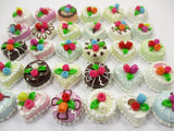 Dollhouse Miniature Food 30 Mixed Color Rose Flower Cake 1.5 cm WHOLESALE 15661