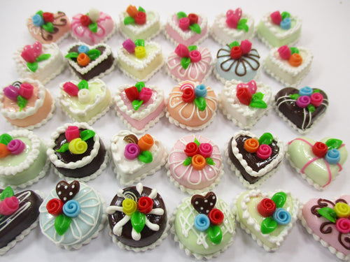 Dollhouse Miniature Food 30 Mixed Color Rose Flower Cake 1.5 cm WHOLESALE 15664
