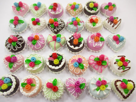 Dollhouse Miniature Food 30 Mixed Color Rose Flower Cake 1.5 cm WHOLESALE 15666