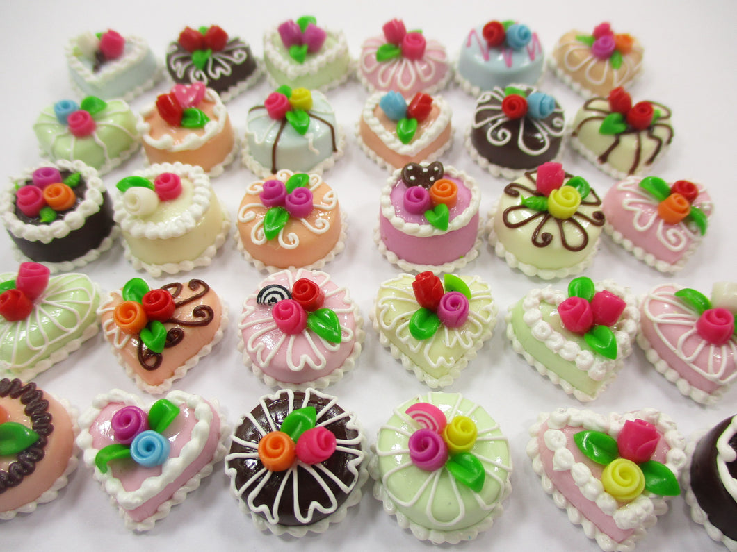 Dollhouse Miniature Food 30 Mixed Color Rose Flower Cake 1.5 cm WHOLESALE 15667
