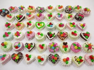 Dollhouse Miniature Food 50 Mixed Color Rose Flower Cake 1.5 cm WHOLESALE 15668