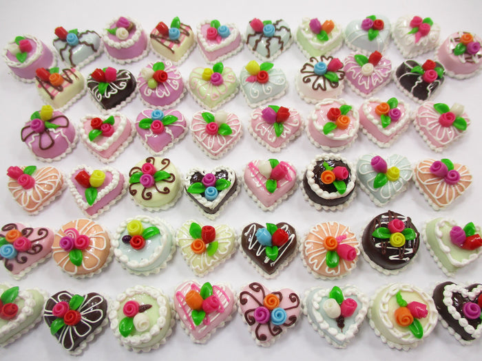 Dollhouse Miniature Food 50 Mixed Color Rose Flower Cake 1.5 cm WHOLESALE 15672