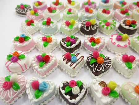 Dollhouse Miniature Food 50 Mixed Color Rose Flower Cake 1.5 cm WHOLESALE 15673
