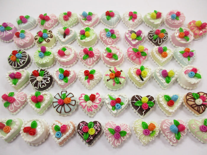 Dollhouse Miniature Food 50 Mixed Color Rose Flower Cake 1.5 cm WHOLESALE 15674