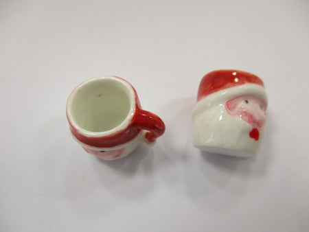 Dollhouse Miniature NEW 2 Santa Ceramic Cup Mug Christmas Supply Charms 15675