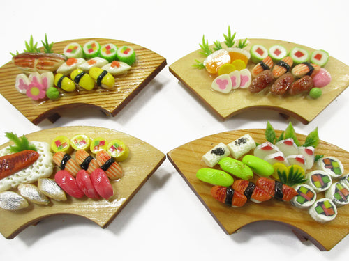 Dollhouse Miniatures Japanese Food 4 Sushi Lunch Box Wooden Curve Supply 15691