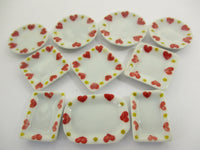 Dollhouse Miniature Ceramic Set 10 Pcs Heart Painted Mixed Kitchen Plate 15693
