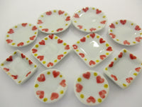 Dollhouse Miniature Ceramic Set 10 Pcs Heart Painted Mixed Kitchen Plate 15695