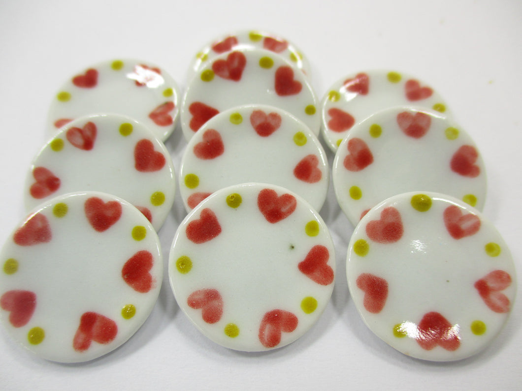 Dollhouse Miniature Ceramic Set 10 Pcs Round Heart Painted Kitchen Plate 15696