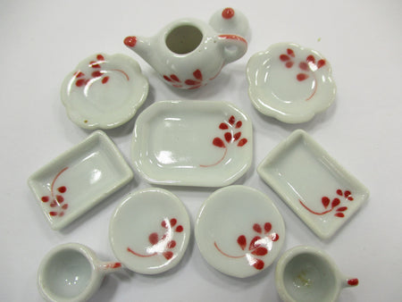 Dollhouse Miniature Ceramic Set 10 Pcs Hand Painted Mixed Kitchen Plate 15697