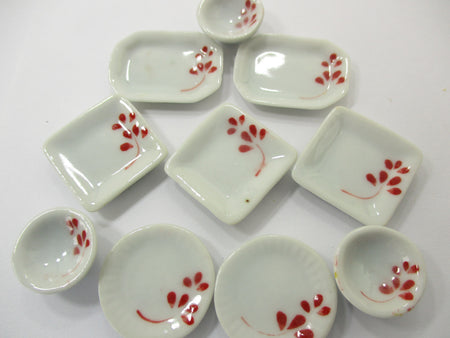 Dollhouse Miniature Ceramic Set 10 Pcs Hand Painted Mixed Kitchen Plate 15698