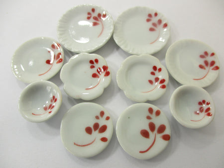 Dollhouse Miniature Ceramic Set 10 Pcs Hand Painted Mixed Kitchen Plate 15699