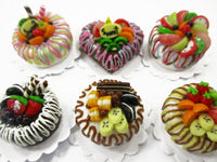Dollhouse Miniature Food NEW 6 Mixed Fruit Cake 2 cm Doll Food Bakery 15701