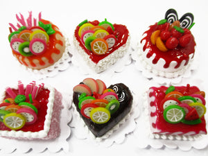 Dollhouse Miniatures Food 2 cm 6 Mixed Color Fruit Cake Doll Food Bakery 15704