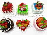Dollhouse Miniatures Food 2 cm 6 Mixed Color Fruit Cake Bakery Supply 15709