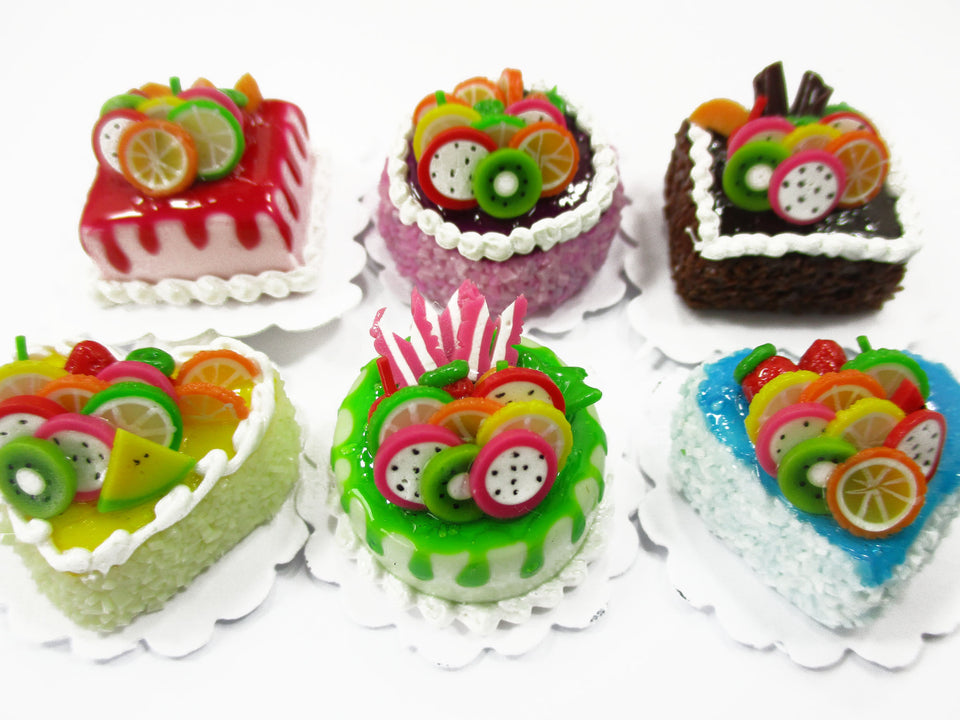 Dollhouse Miniatures Food 2 cm 6 Mixed Color Fruit Cake Doll Food Bakery 15710