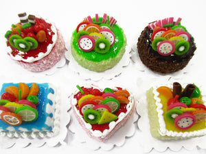 Dollhouse Miniatures Food 2 cm 6 Assorted Color Fruit Cake Bakery Supply 15716