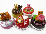 Dollhouse Miniature Food 1.5 cm 5 Mixed Tiny Bear Color Cake Dolls Bakery 15735