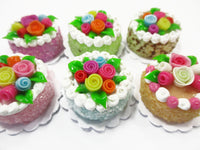 Dollhouse Miniature Food Set 2 cm 6 Mixed Color Rose Flower Cake Supply 15749
