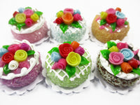 Dollhouse Miniature Food Lot 2 cm 6 Mixed Color Rose Flower Cake Supply 15750