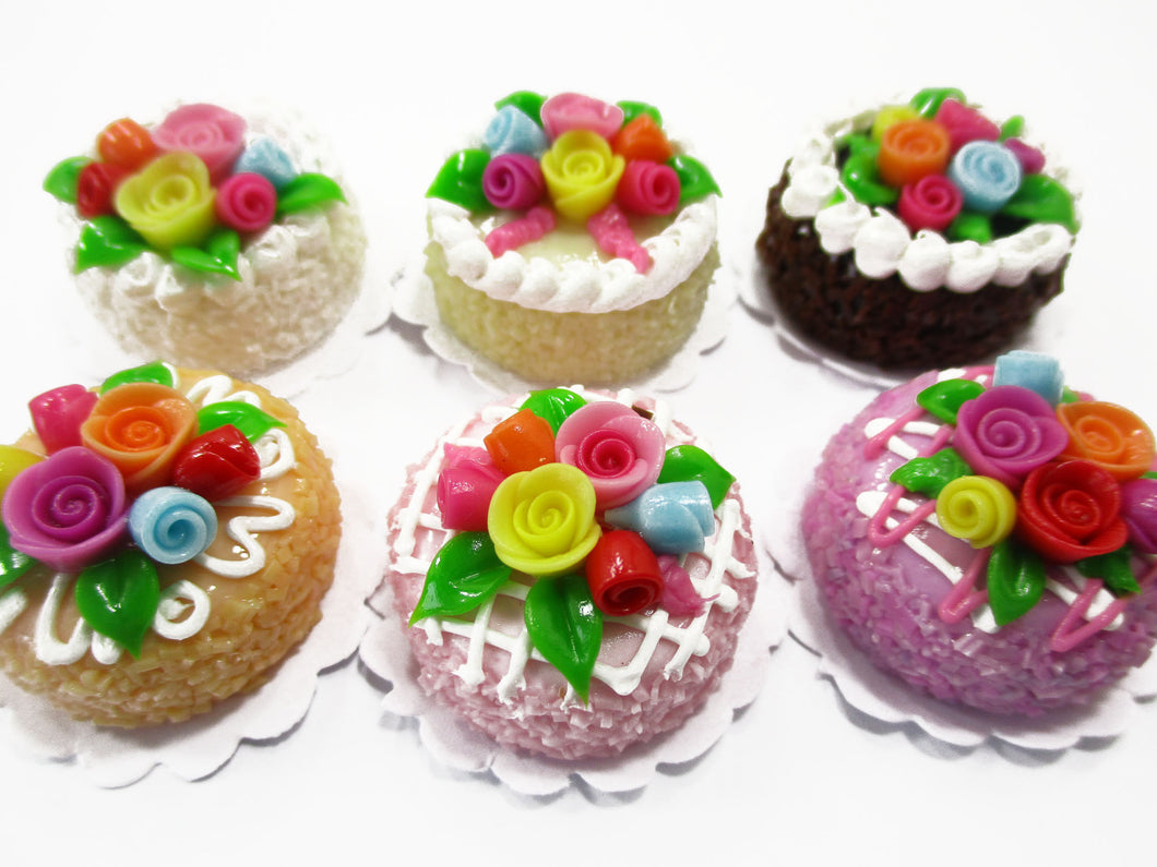 Dollhouse Miniatures Food Set 2 cm 6 Mixed Color Rose Flower Cake Bakery 15751