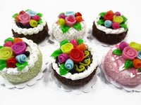 Dollhouse Miniature Food Lot 2 cm 6 Assorted Color Rose Flower Cake Supply 15753