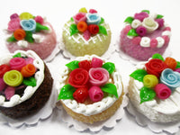 Dollhouse Miniature Food Set 2 cm 6 Mixed Color Rose Flower Cake Supply 15754