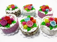 Dollhouse Miniature Food Lot 2 cm 6 Mixed Color Rose Flower Cake Supply 15755