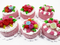Dollhouse Miniatures Food Set 2 cm 6 Mixed Color Rose Flower Cake Bakery 15756