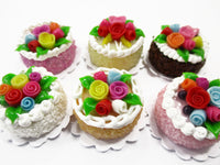 Dollhouse Miniature Food Lot 2 cm 6 Mixed Color Rose Flower Cake Supply 15757