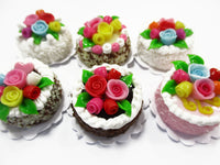 Dollhouse Miniature Food Set 2 cm 6 Mixed Color Rose Flower Cake Supply 15758
