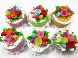 Dollhouse Miniature Food Lot 2 cm 6 Mixed Color Rose Flower Cake Bakery 15759