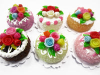 Dollhouse Miniatures Food Set 2 cm 6 Mixed Color Rose Flower Cake Supply 15760