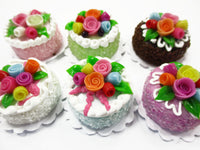 Dollhouse Miniature Food Lot 2 cm 6 Mixed Color Rose Flower Cake Supply 15761