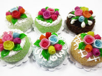 Dollhouse Miniature Food Set 2 cm 6 Mixed Color Rose Flower Cake Bakery 15762