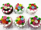 Dollhouse Miniature Food Lot 2 cm 6 Mixed Color Rose Flower Cake Supply 15763