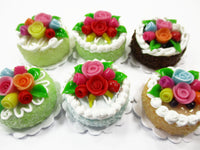 Dollhouse Miniature Food Lot 2 cm 6 Mixed Color Rose Flower Cake Bakery 15765