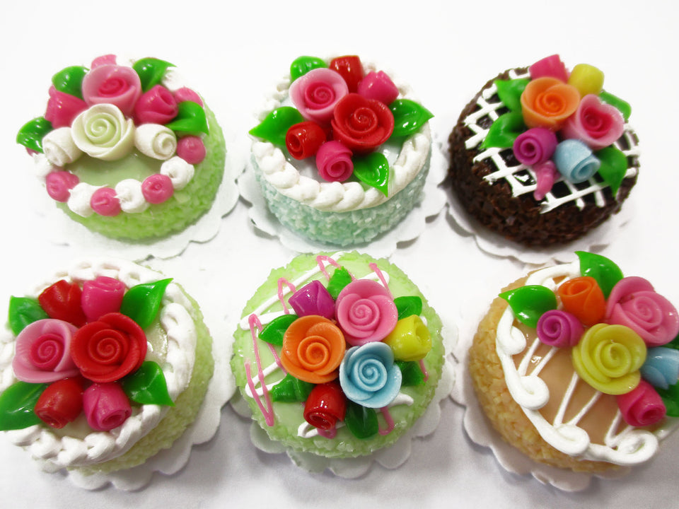 Dollhouse Miniatures Food Set 2 cm 6 Mixed Color Rose Flower Cake Supply 15766