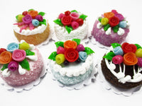 Dollhouse Miniature Food Lot 2 cm 6 Mixed Color Rose Flower Cake Supply 15767