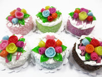 Dollhouse Miniature Food Set 2 cm 6 Mixed Color Rose Flower Cake Bakery 15768
