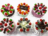 Dollhouse Miniatures Food 2 cm 6 Mixed Color Fruit Cake Tiny Doll Bakery 15769