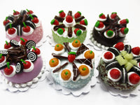 Dollhouse Miniatures Food 2 cm 6 Mixed Color Fruit Cake Doll Food Bakery 15772